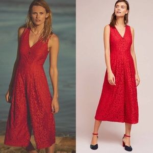 Anthropologie Jaeda Red Lace Midi Jumpsuit